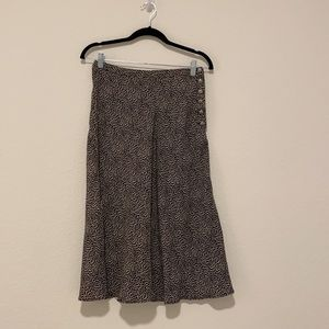 Cache 100% Rayon Black White Printed High-Waisted Midi Skirt w Buttons Size 8